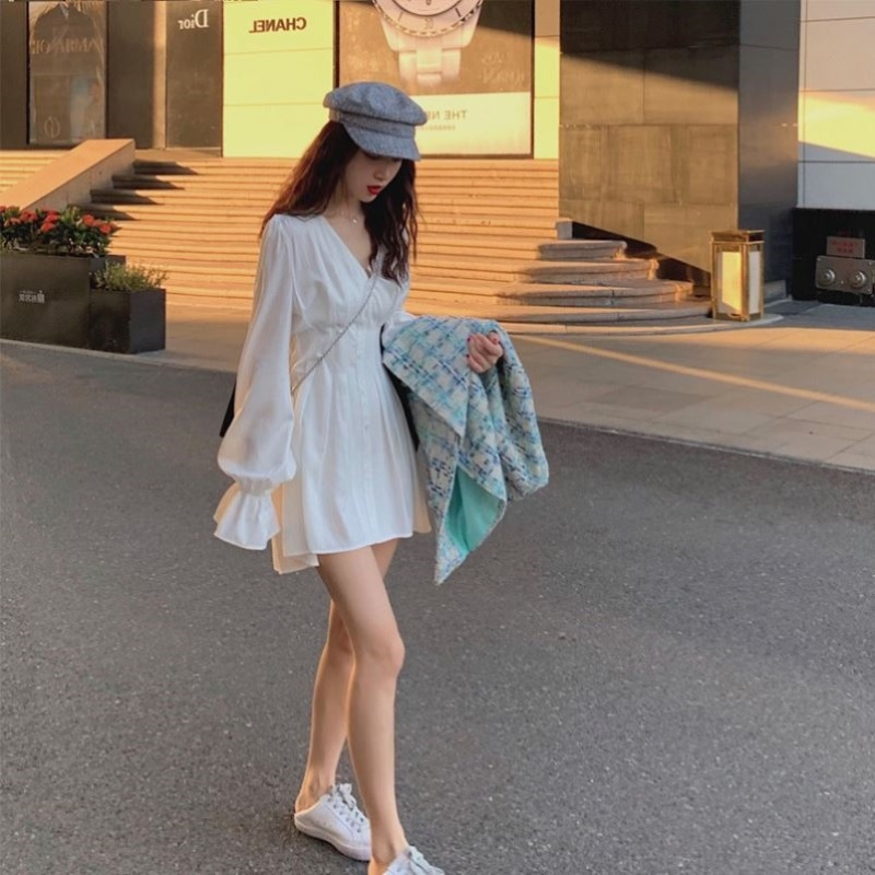 2020 solid color high waist single piece French minority dress V-neck small gentle CIC fairy skirt shirt skirt