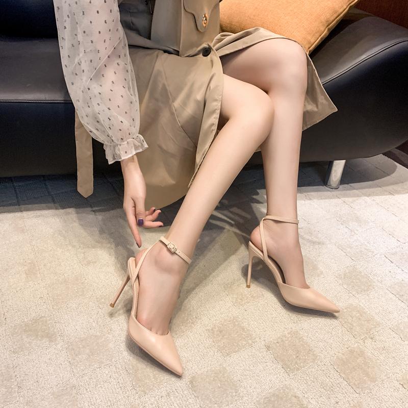 2021夏季新品尖头中空高跟鞋女细跟性感显瘦单鞋后绊带包头凉鞋女
