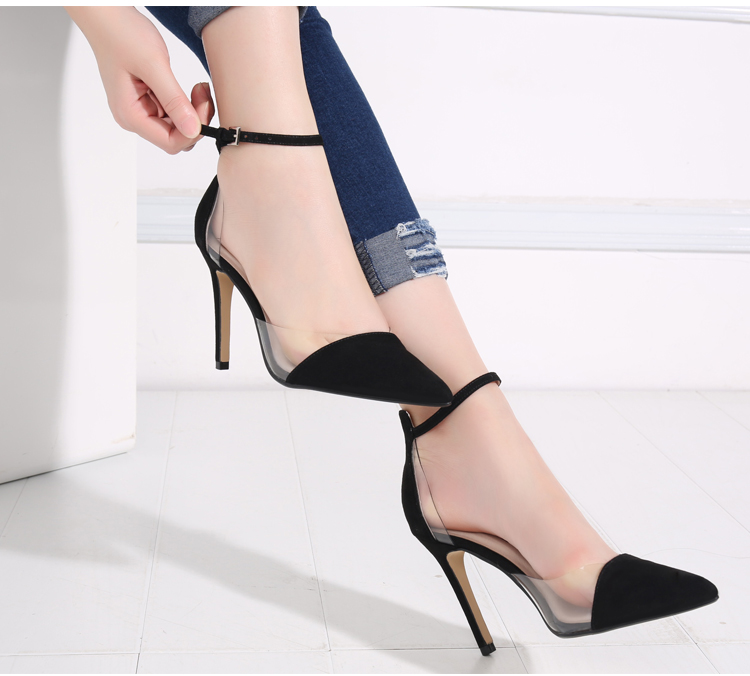2017 new transparent womens high-heeled shoes with button sandals pointed thin heel middle heel ol shallow single shoe womens shoes