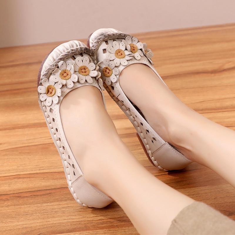 夏季镂空透气妈妈平底豆豆鞋洞洞鞋(用3元券)