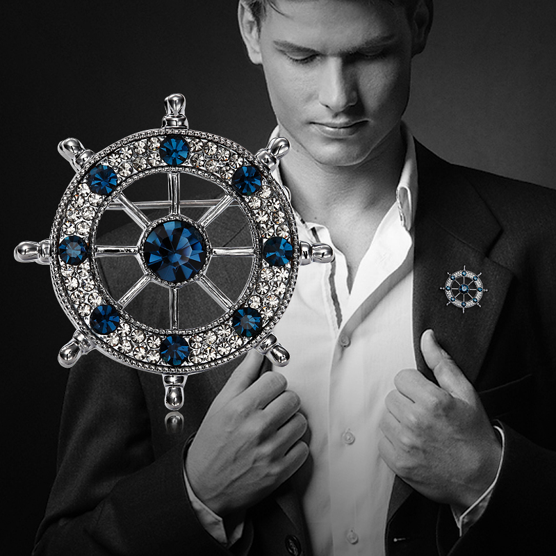 Mens brooch brooch Navy style retro Rhinestone rudder suit pin buckle collar pin European and American fashion badge accessories