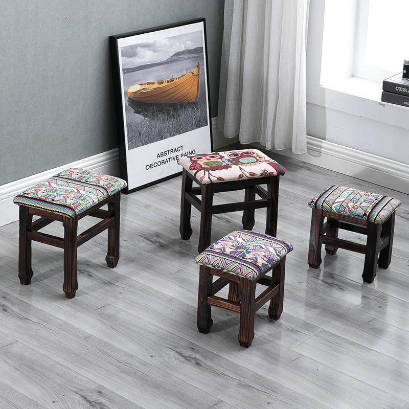 小凳子家用木制换鞋凳仿古小方凳实木儿童矮凳子加厚客厅布艺板凳(非品牌)