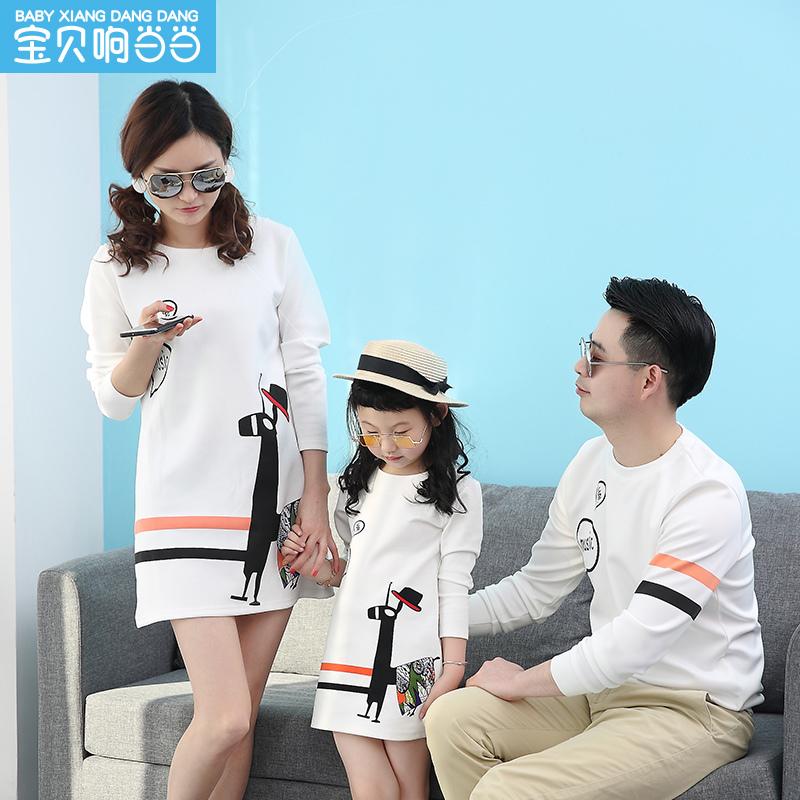1077019春装新款一家三口家庭装母子长袖母女装连衣裙2019亲子装