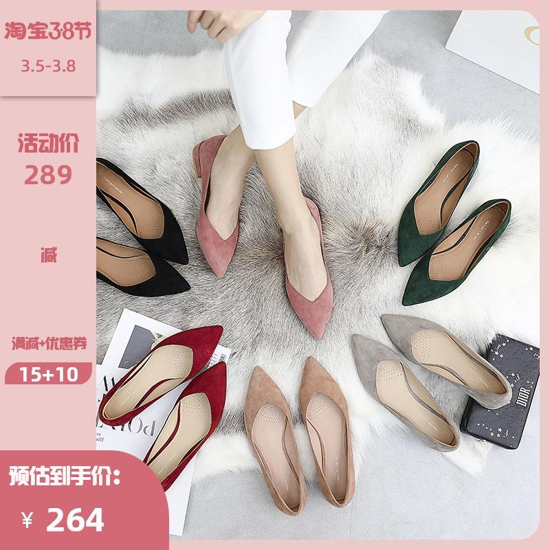 私奔 尖头单鞋女平底低跟2021春款百搭真皮羊皮春秋鞋子浅口女鞋