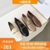 SS13111147秋新方头低跟珠饰奶油鞋女鞋子2021星期六乐福鞋直