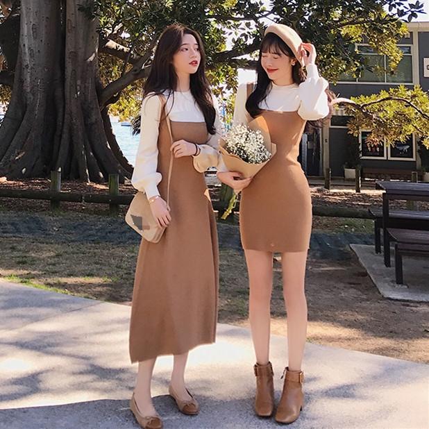 券后94.80元2019秋装新款灯笼袖假两件针织连衣裙女收腰显瘦气质法式桔梗裙子