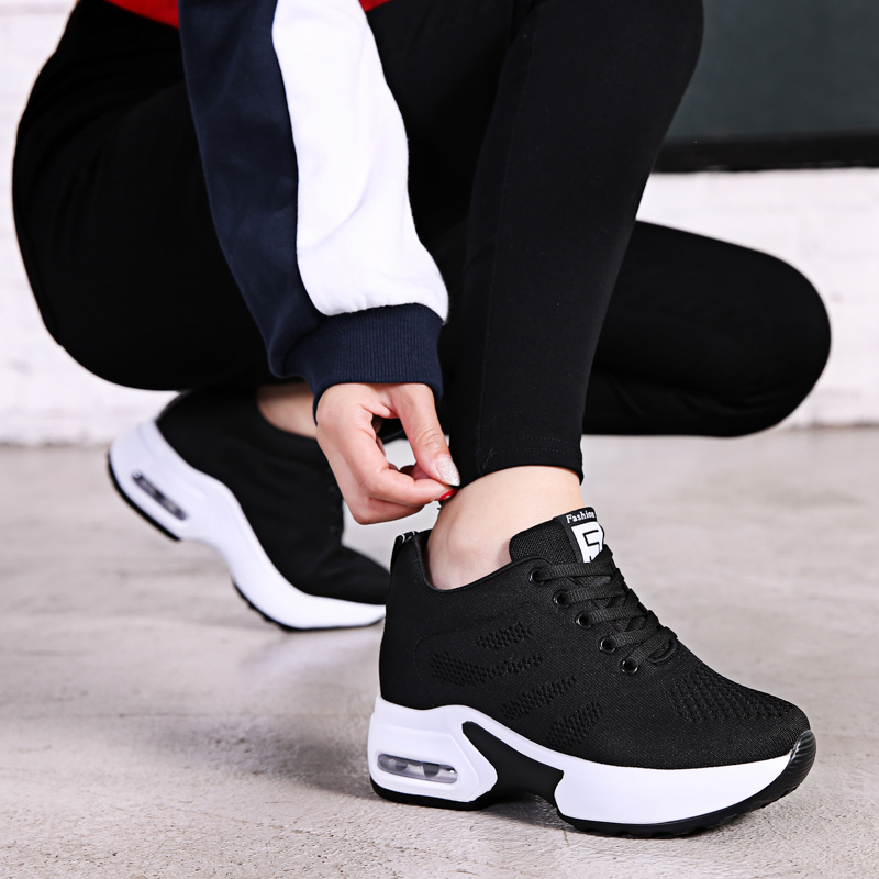 Spring and autumn Korean version mesh shoes inner heightening sports shoes womens 8cm small womens shoes 34 thick soled muffin shoes single shoes high heels