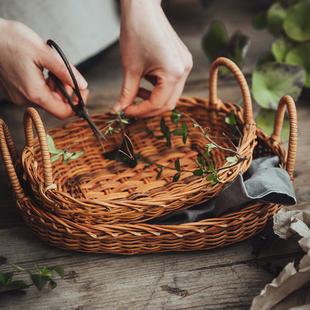 繪市集 手工藤編草編水果籃野餐籃收納籃托盤手提輕麪包籃針線籃