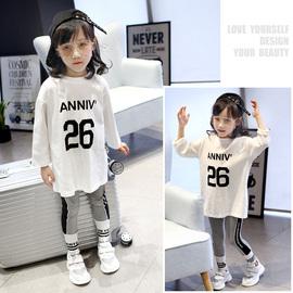 童装2020春季新款儿童白色纯棉T恤宽松中长款卫衣女童长袖打底衫