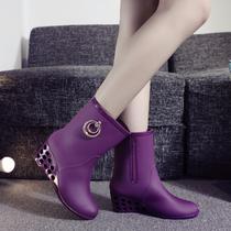 新款韩国春夏秋冬女士短筒雨靴高跟水鞋防滑坡跟胶鞋休闲单雨鞋女