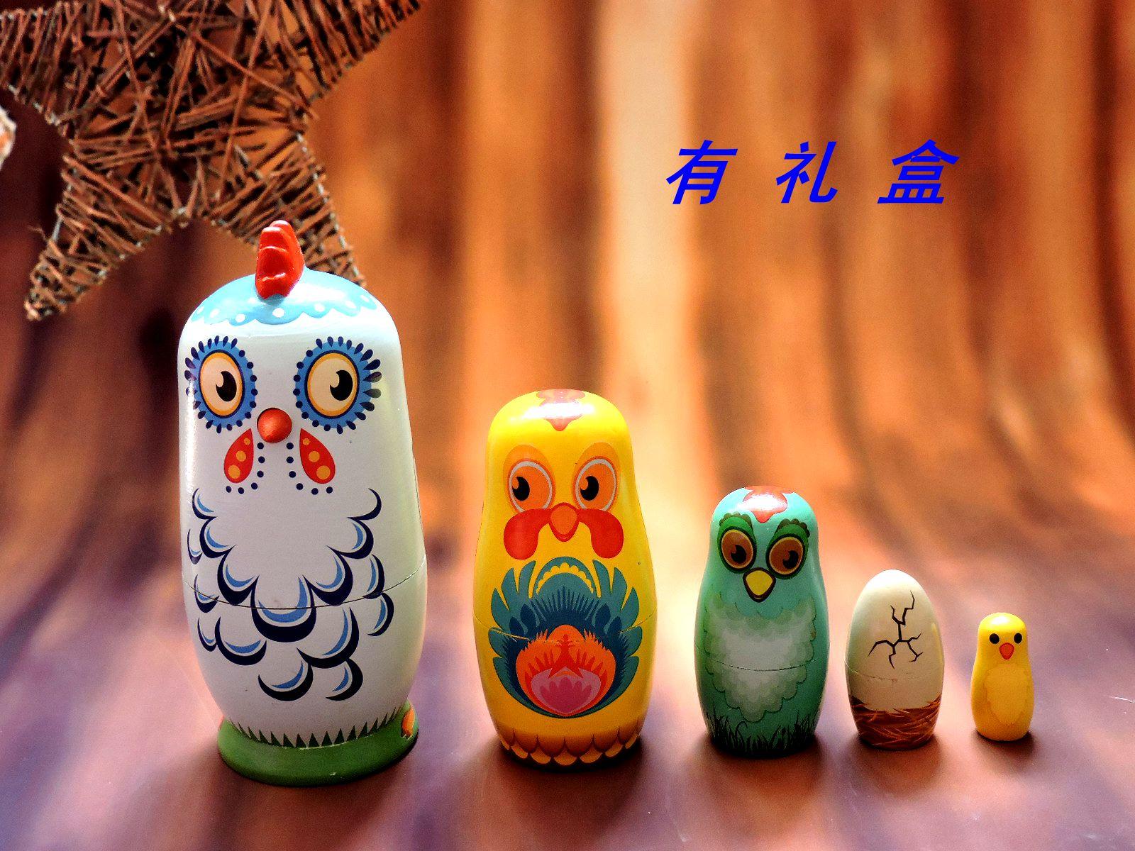 俄罗斯套娃正品5层小鸡纯手工木制玩具创意摆件生日礼品特色工艺
