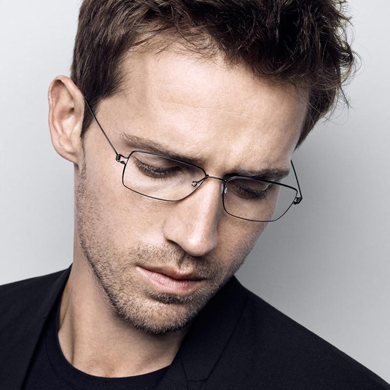 林德伯格商务全框男款超轻纯钛近视眼镜架超细边框方形近视配镜