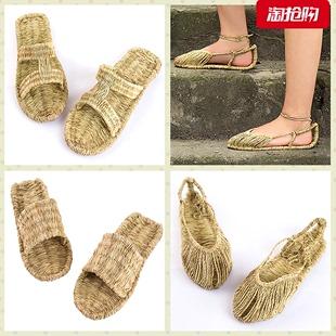 复古个性 新款 拖鞋 草鞋 纯手工青麻编织男女夏传统红军系带天然凉鞋