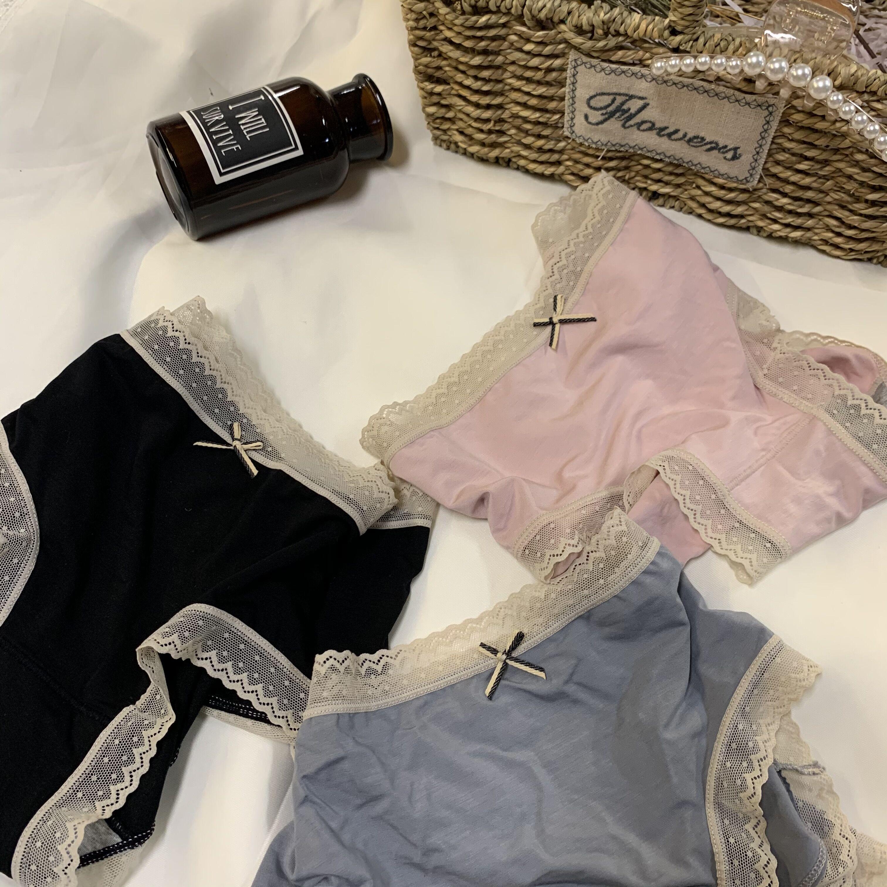 性感莫代尔内裤女士夏季薄款大码无痕石墨烯纯棉抗菌全棉蕾丝中腰