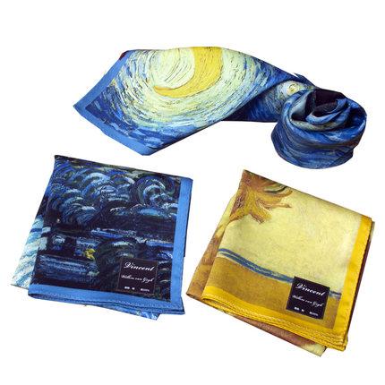 【酷帕梵高】星空向日葵艺术衍生方巾
