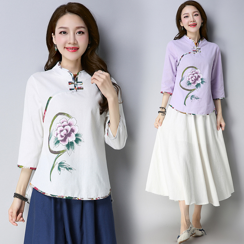 Spring new ethnic style women's Tang suit improved Chinese style disc buckle cheongsam coat cotton and linen
