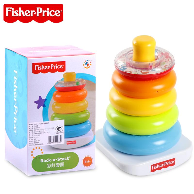 費雪彩虹套圈N8248嬰幼兒早教益智玩具疊疊樂套圈彩虹圈套塔積木