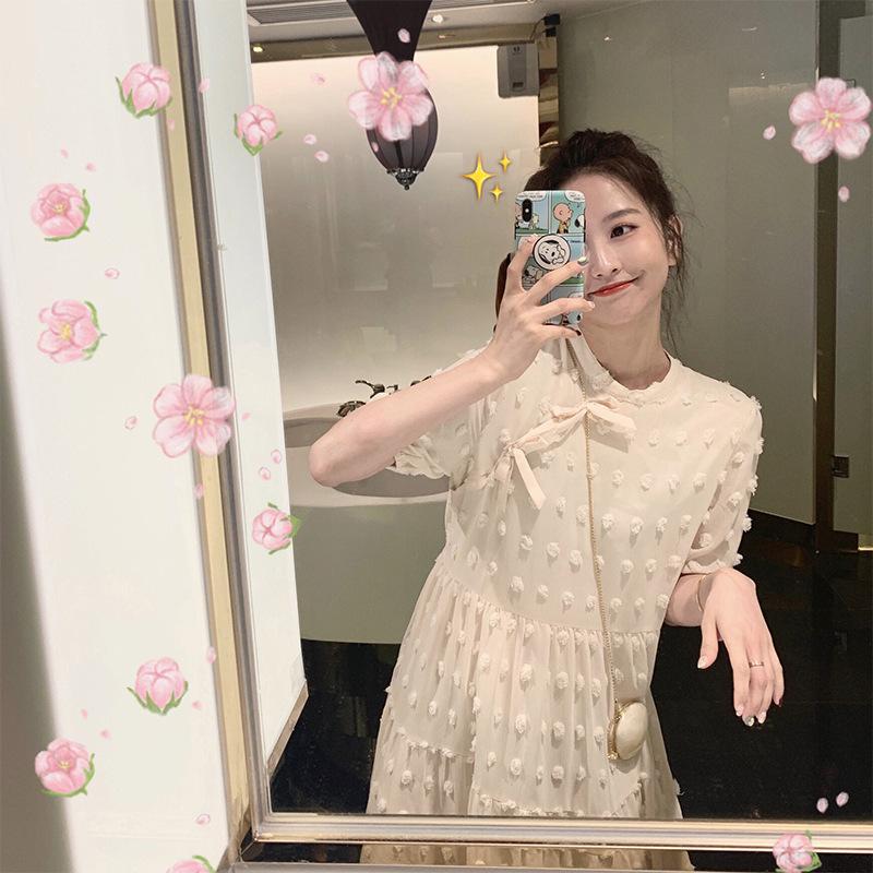 满145.00元可用1元优惠券白色女仙气质连衣裙ins夏chic夏装很仙的法国小众复古气质桔梗裙