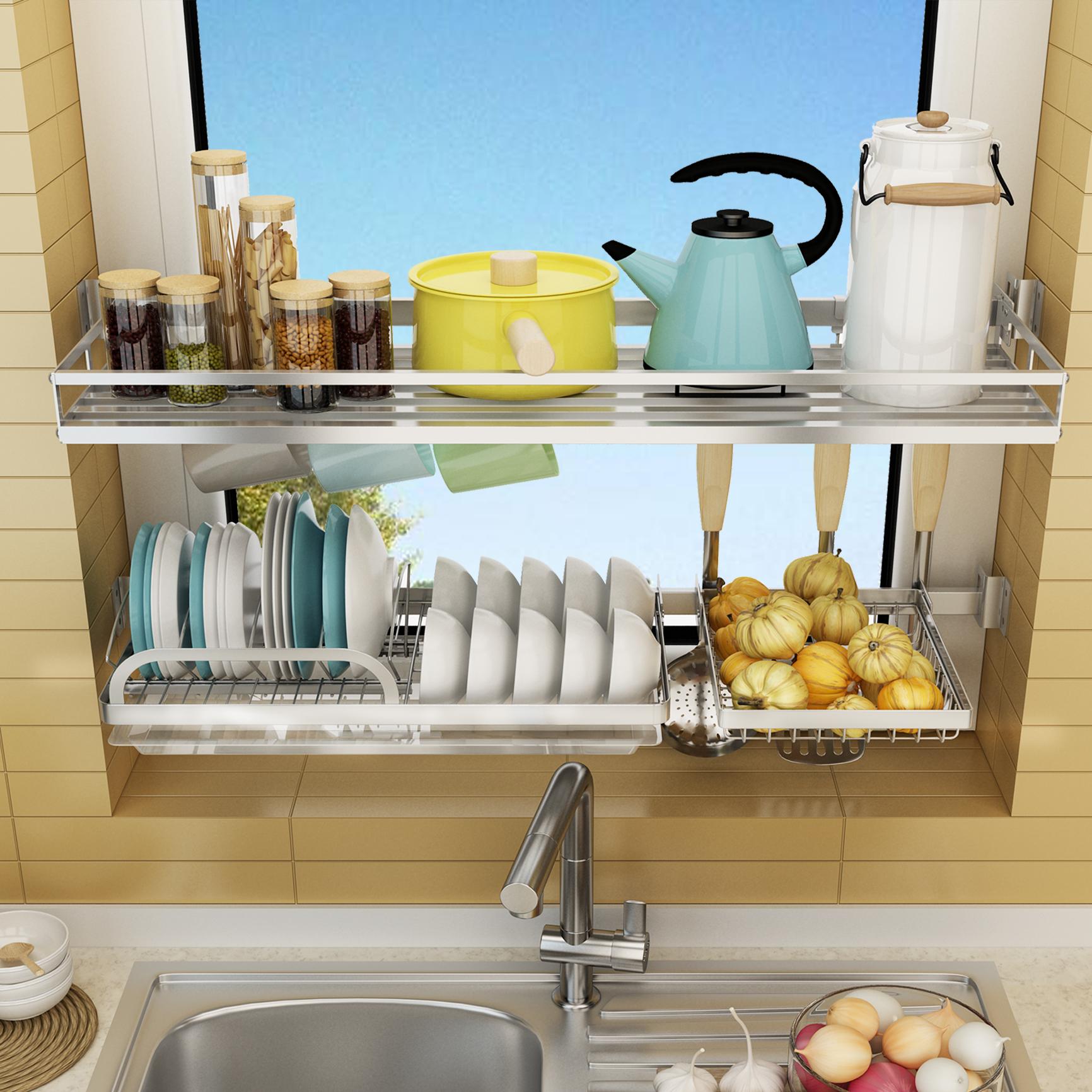 厨房窗台304不锈钢放碗置物架碗筷沥水架盘子锅具收纳架窗户挂架限时秒杀