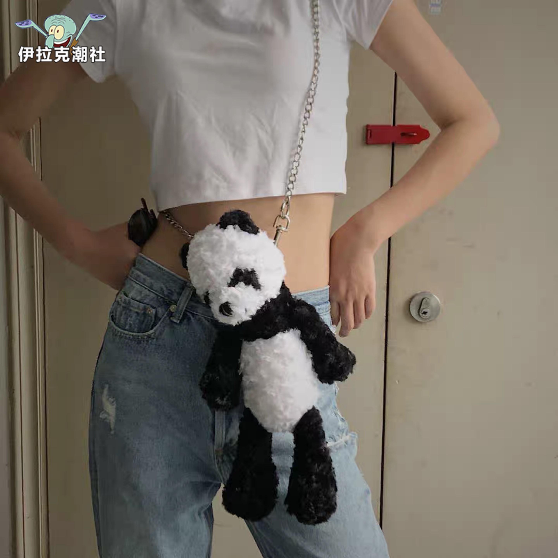 【正品国潮】伊拉克潮社MY WINNER蹦迪街拍熊猫链条包斜跨情侣ins