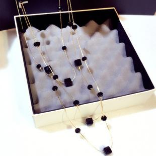黑色三層水晶毛衣掛飾項鍊女日韓版百搭秋冬長款毛衣鏈掛件配飾品