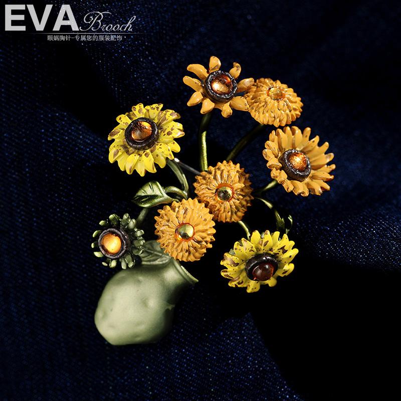 EVA颐娲 vintage复古珐琅梵高向日葵胸针气质秋冬毛大衣别针配饰