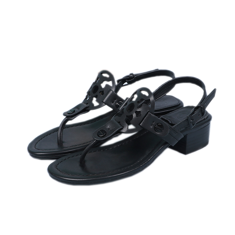20 summer Mid Heel clip toe sandals leather thick heel clip toe t-shoes beach shoes Roman style simple buckle womens shoes