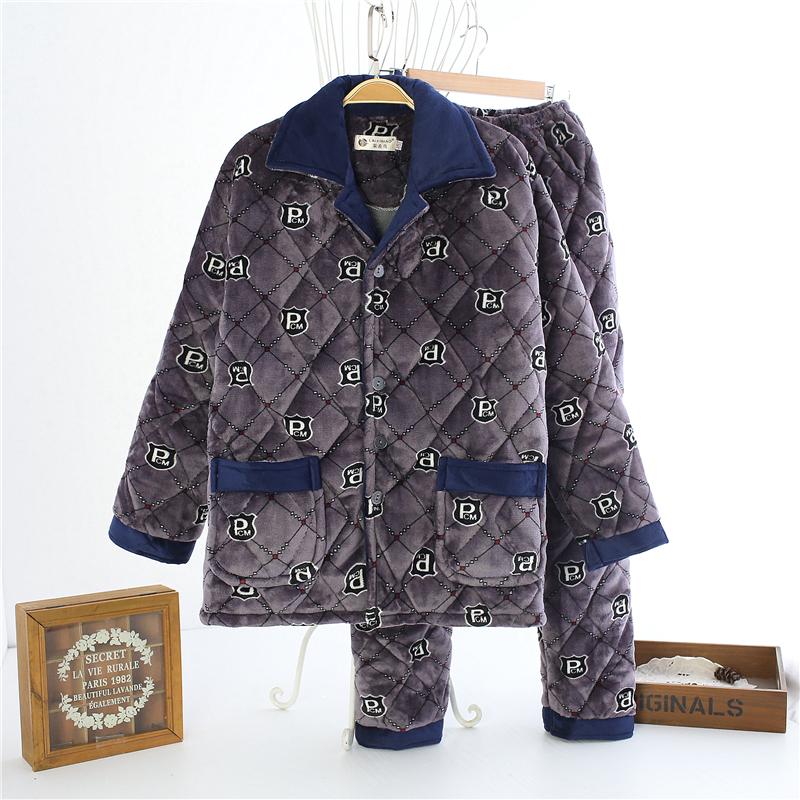 三层加厚珊瑚绒夹棉睡衣男士冬天加绒棉衣中年爸爸中老年老人套装