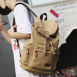 复古背包时尚潮流旅游帆布双肩包男士休闲大学生书包男旅行大容量