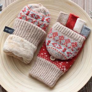 秋冬季新款半指露指翻盖短款韩版保暖加绒加厚羊绒纯羊毛手套女士
