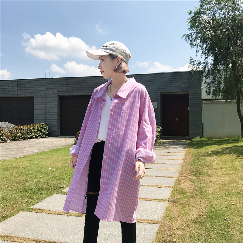 实拍实价早春新款韩国原宿风bf宽松条纹中长款显瘦长袖衬衫裙
