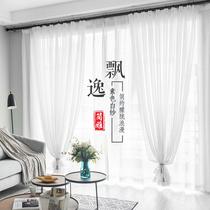 薄纱白纱窗帘窗纱纱帘阳台遮光沙白沙白色布网红透明透光装饰网红