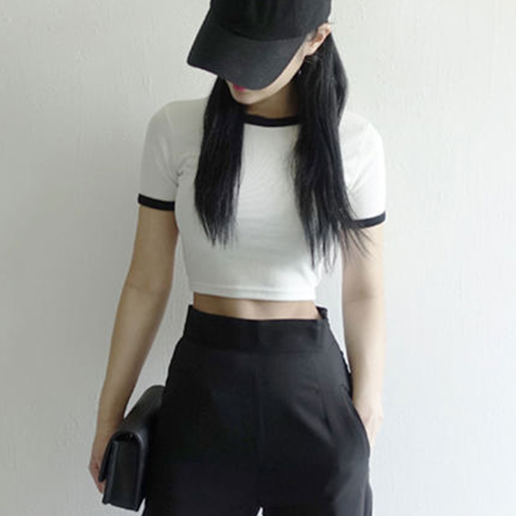 New womens sexy small half high collar short sleeve T-shirt in spring and summer 2020
