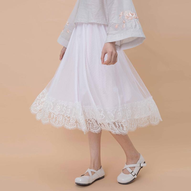 包邮汉尚华莲传统汉服白玉女装内搭衬裙纯色中长裙中腰半身裙日常