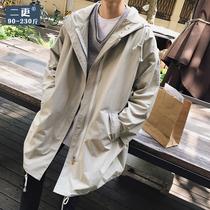 秋季純色外套休閑修身型男士中長款上衣夾克薄2018青年連帽風衣男