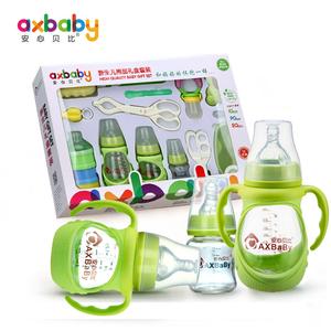 新生儿玻璃奶瓶套装礼盒婴儿用品奶瓶宝宝宽口初生防摔小号奶嘴