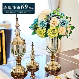 欧式玫瑰干花花束仿真假花玄关装饰花瓶摆件客厅轻奢餐桌花艺摆设