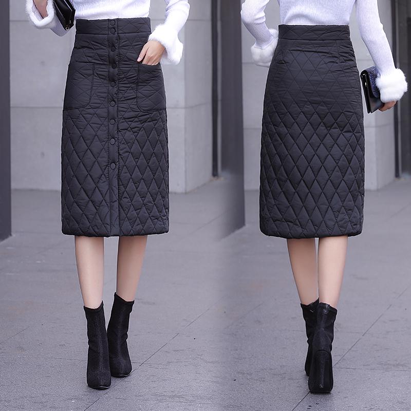 秋冬新品一片式羽绒棉半身长裙加厚保暖高腰包臀裙A字格子棉裙子