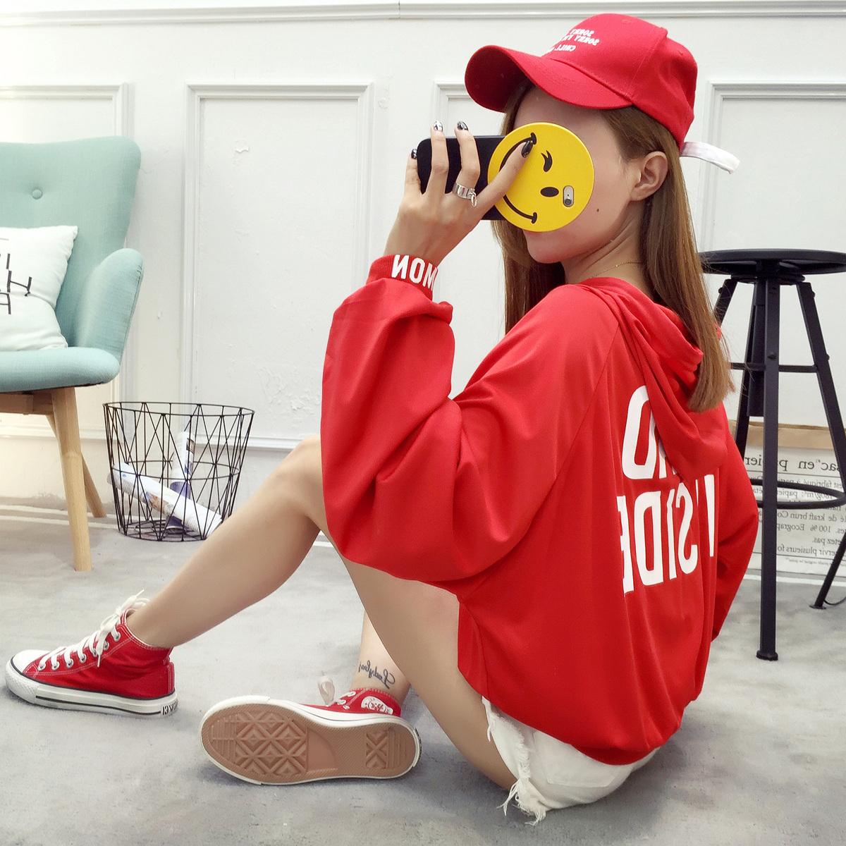 171#【实拍图】灯笼袖连帽女卫衣红色薄款