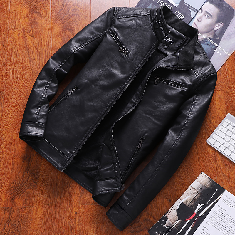 Chaomen motorcycle leather coat mens PU leather jacket mens coat Plush Korean version 2019 handsome coffee Jujube Black