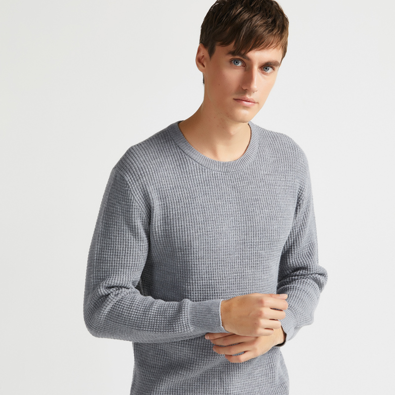Benmi thick round neck waffle sweater jacquard three-dimensional weaving worsted Chao fine Merino wool