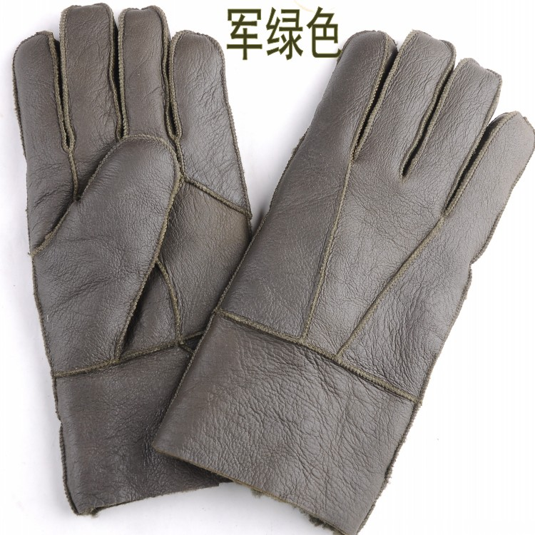 Winter mens leather gloves super thick wool fur one thickened warm windproof motorcycle riding gloves for men and women