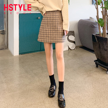 Pre-sale Handu Clothing House Fall 2019 New Fabric Retro Chequered Short Skirt with High Waist and Chao A Half-length Skirt LU8695