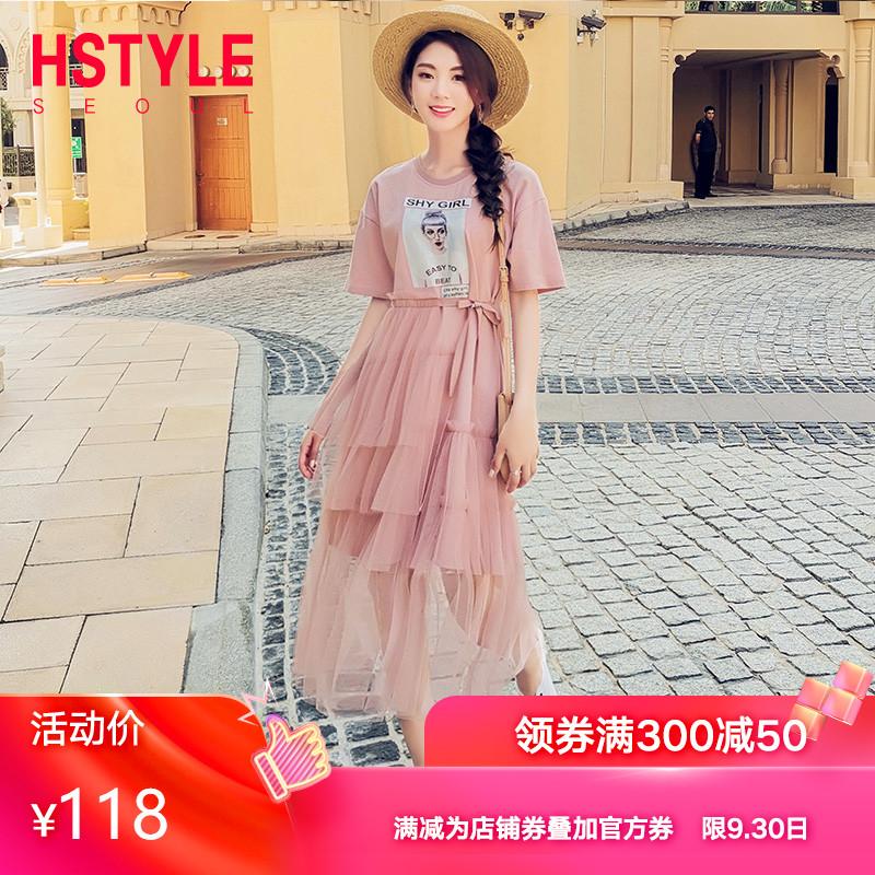 包邮韩都衣舍2019韩版夏装网纱囡连衣裙