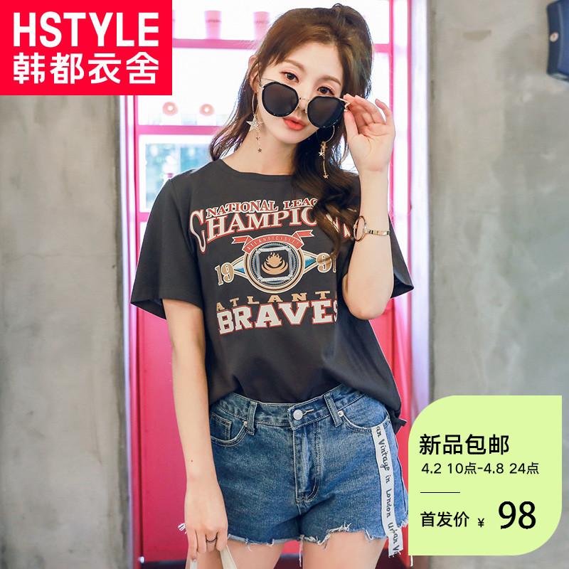 韩都衣舍2018夏装新款女装韩版宽松印花圆领短袖T恤KY9587��0320