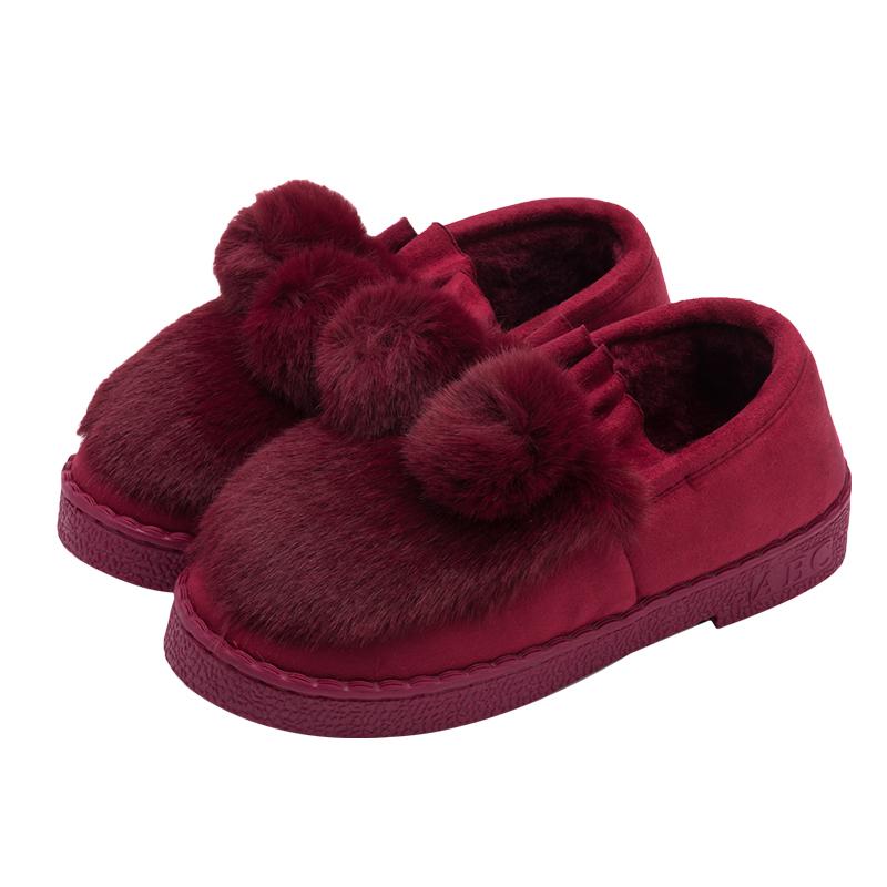 女款毛绒可爱球球保暖冬季家居家时尚韩版包跟棉拖鞋豆豆鞋时装鞋