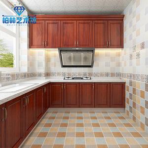 美式田园瓷砖300X600厨房卫生间亮光墙砖阳台地砖格子复古风釉面