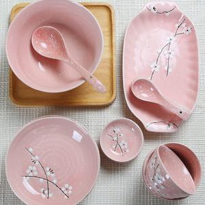 景德鎮陶瓷器日式櫻花餐具DIY家用碗碟套裝吃飯碗盤子組合湯面碗