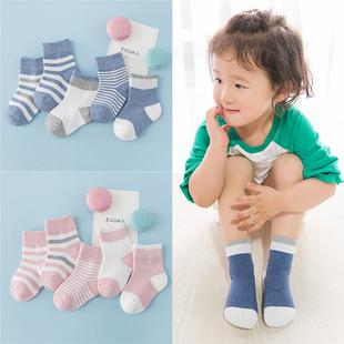 秋冬纯条纹男童棉中筒婴儿儿童袜子