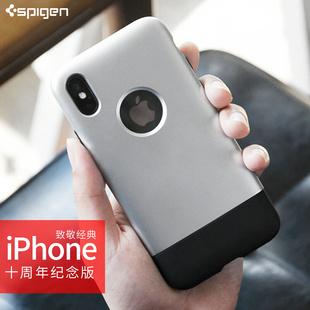 【10周年2G纪念款】Spigen苹果XS手机壳硅胶iPhoneX防摔个性创意保护套经典复古全包硬壳保护套网红同款新
